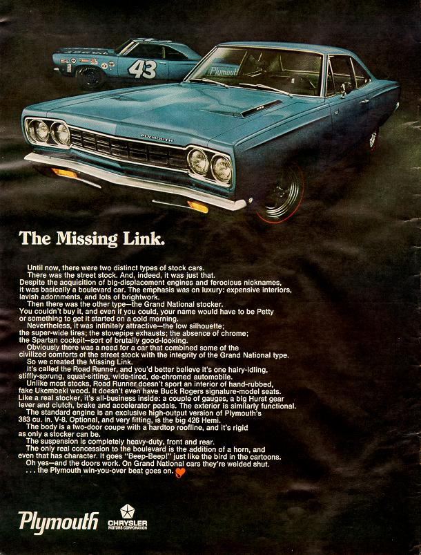 1968 Plymouth Road Runner Factory Advertisement.