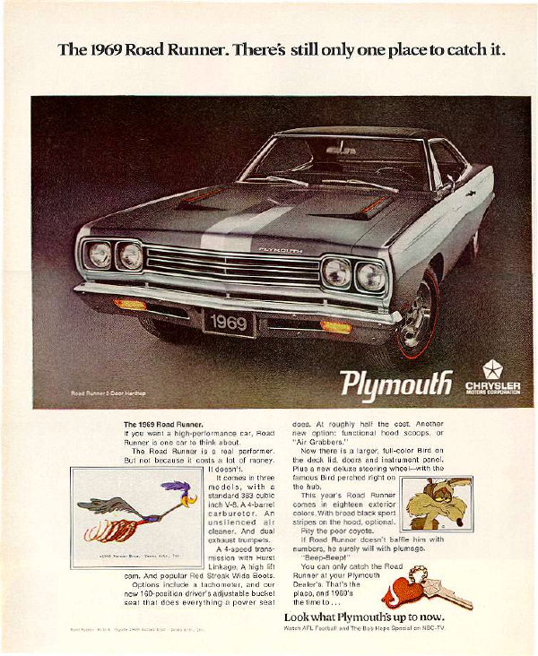 1969 Plymouth Road Runner Factory Advertisement.