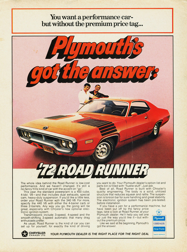 1972 Plymouth Road Runner Factory Advertisement.