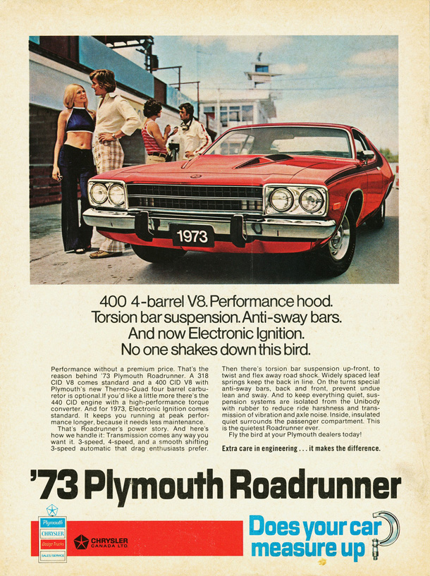 1973 Plymouth Road Runner Factory Advertisement.